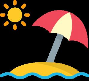 A sun umbrella on a beach